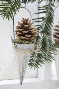 IB LAURSEN Závesný kornút na dekorácie - biely 10cm