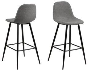 Svetlosivá barová stolička s kovovým podnožím Actona Wilma