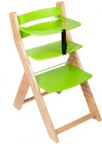WOOD PARTNER Rastúca stolička UNIZO - natur lak - zelená
