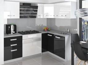 Rohová kuchynská zostava bielo čierna Janka s LED osvětlením