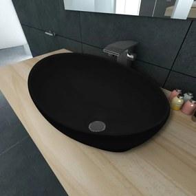 vidaXL Luxusné keramické umývadlo, oválny tvar, čierne, 40 x 33 cm