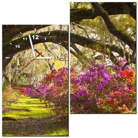Tlačený obraz s hodinami Silné duby a kvety 60x60cm ZP1480A_2J