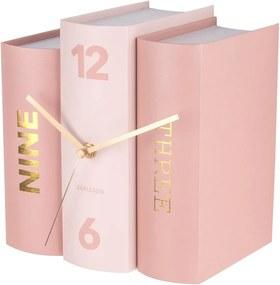 KARLSSON Stolové hodiny Book ružové