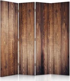 CARO Paraván - Brown Boards | štvordielny | obojstranný 145x180 cm