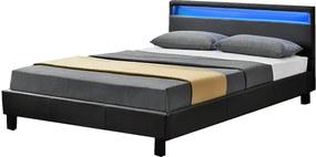 Čalúnená posteľ Verona 120 x 200 cm s LED osvetlením v čiernej farbe