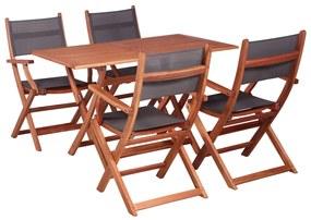 vidaXL 5-dielna vonkajšia jedálenská súprava masívne eukalyptové drevo a textilén