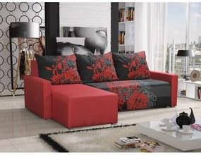 Rohová sedacia súprava s opierkami a vzormi KRISTIAN BIS, červená + šedá