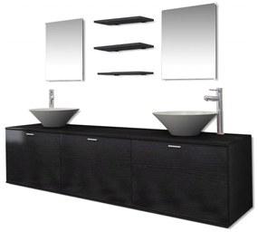 10-dielna čierna sada kúpeľového nábytku s umývadlom a batériou