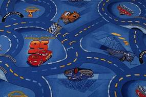 MAXMAX Detský koberec CARS modrý modrá