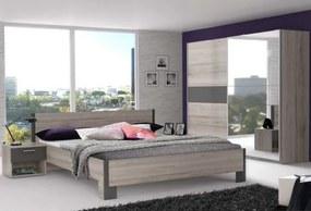Adria 2 - Spálňa, posteľ 160 (sivá matná/dub pieskový
