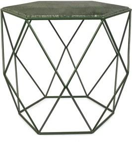 Zelený stolík s mramorovou doskou HF Living Gemstone