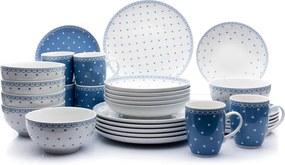 Thun 1794 Jídelní souprava, Kodaň, modré puntíky, karlovarský porcelán, Thun, 30 d.