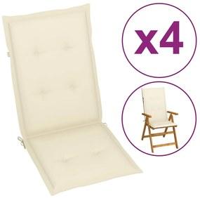 Krémové sedáky na záhradné stoličky, 4 ks, 120x50x3 cm