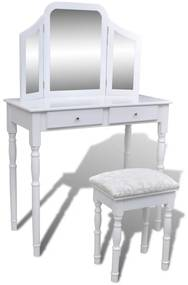 vidaXL Toaletný stolík so zrkadlom 3 v 1 a stoličkou, 2 zásuvky, biely
