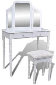 Toaletný stolík so zrkadlom 3 v 1 a stoličkou, 2 zásuvky, biely