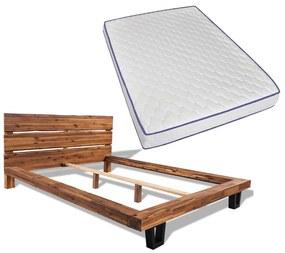 vidaXL Posteľ s matracom, pamäťová pena, akáciový masív 140x200 cm