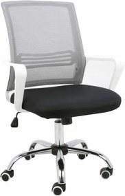 Kancelárska stolička, sieťovina sivá/látka čierna/plast biely, APOLO