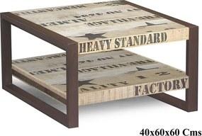 Bighome - FACTORY konferenčný stolík #125, liatina a mangové drevo, potlač