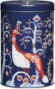 Iittala dóza Taika 12,8x19,5 cm, guľaté, plechové, modrá