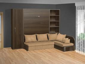 Nabytekmorava Sklápacia posteľ s rohovou pohovkou VS 3075P - 200x180 cm + policová skriňa 60 nosnost postele: štandardná nosnosť, farba lamina: biela 113, farba pohovky: nubuk 133 caramel