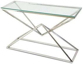 DekorStyle Konzolový stôl Diamont strieborný