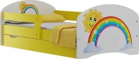 MAXMAX Detská posteľ so zásuvkami DUHA A SLNIEČKO 140x70 cm