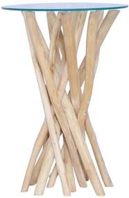 vidaXL Konferenčný stolík so sklenenou doskou 35x35x50 cm masívne teakové drevo