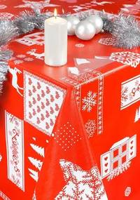 Obrus PVC 573421, návin 20 m x 140 cm, vianočný motív červený, IMPOL TRADE
