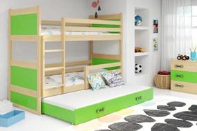 BMS Group Poschodová posteľ s prístelkou RICO - s úložným priestorom - pre troch - BOROVICA