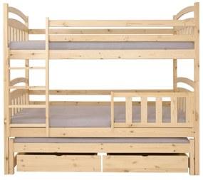FA Petra 1 200x90 Poschodová posteľ s prístelkou Farba: Biela