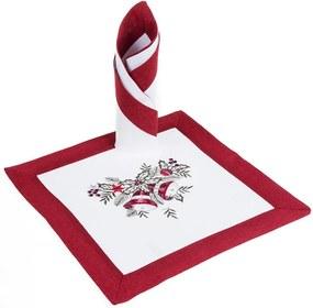 Vianočné vyšívané prestieranie červené 2 kusy