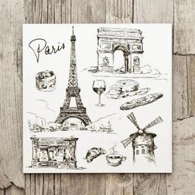 3D drevený gravírovaný obraz na stenu - Paríž 22x22cm, 33x33cm