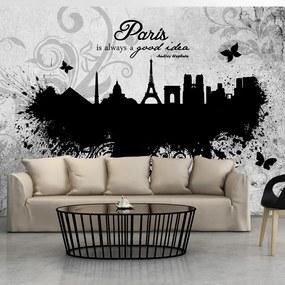 Fototapeta Bimago - Paris is always a good idea - black and white + lepidlo zadarmo 300x210 cm