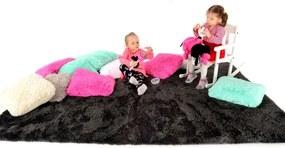 MAXMAX Plyšový detský koberec ČIERNY