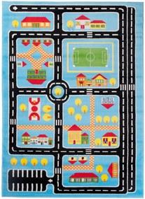 Detský kusový koberec Plan mesta modrý, Velikosti 300x400cm