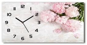Moderné sklenené hodiny na stenu Pivonky pl_zsp_60x30_f_89916715