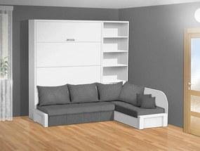 Nabytekmorava Sklápacia posteľ s rohovou pohovkou VS 3075P - 200x160 cm nosnost postele: štandardná nosnosť, farba lamina: biela 113, farba pohovky: nubuk 22 sivá