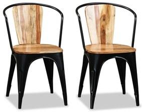 Jedálenské stoličky v štýle tolix, 2 ks, masívne agátové drevo