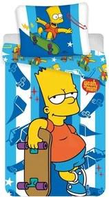 Jerry Fabrics Detské bavlnené obliečky The Simpsons Bart skater, 140 x 200 cm, 70 x 90 cm