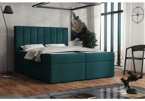 Čalúnená posteľ boxspring 180x200 SAMANTA - modrozelená