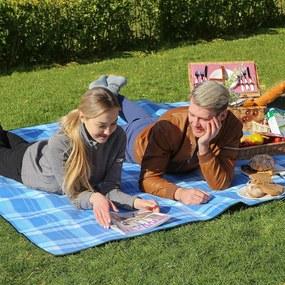 SONGMICS Piknik deka vodeodolná modré pruhy 200 x 200 cm