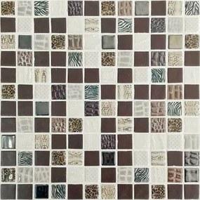 Sklenená mozaika Mosavit Safari marron 30x30 cm lesk SAFARIMR