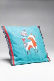 Modrý vankúš s bavlneným poťahom Kare Design Fo×y, 40 × 40 cm