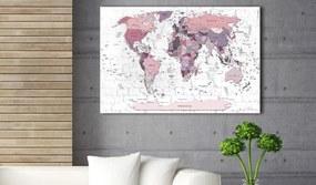 Obraz ružová mapa sveta - Pink Frontiers
