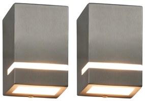 vidaXL Vonkajšie nástenné svietidlá 2 ks, 35W, strieborné, obdĺžnikové