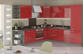 Červená rohová kuchynská linka 260x270 cm HULK