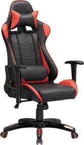 Bezdoteku Kancelárska stolička PREDATOR čierna s červenými pruhmi