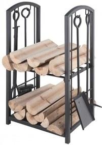 Stojan na drevo s krbovým náradím Lienbacher - čierna