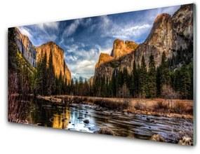 Nástenný panel Hora les jazero príroda 100x50cm