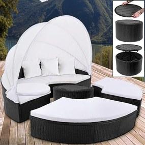 Jurhan Ratanová záhradná posteľ ISLAND XXL čierna 185 cm